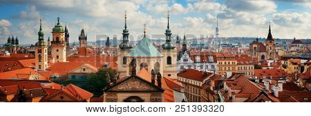 Prague skyline rooftop view with historical buildings panorama in Czech Republic.