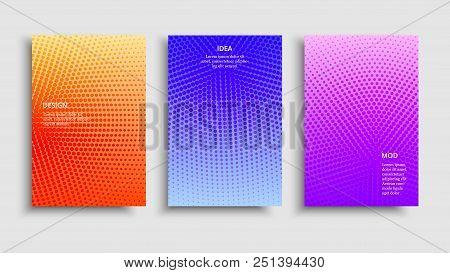 Minimal Covers Design. Vector Colorful Halftone Gradients. Futuristic Geometric Patterns. Vector Gra
