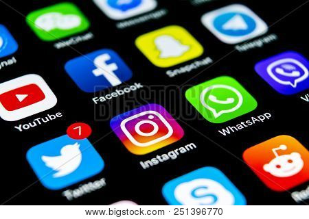 Sankt-petersburg, Russia, July 29, 2018: Apple Iphone X With Icons Of Social Media Facebook, Instagr