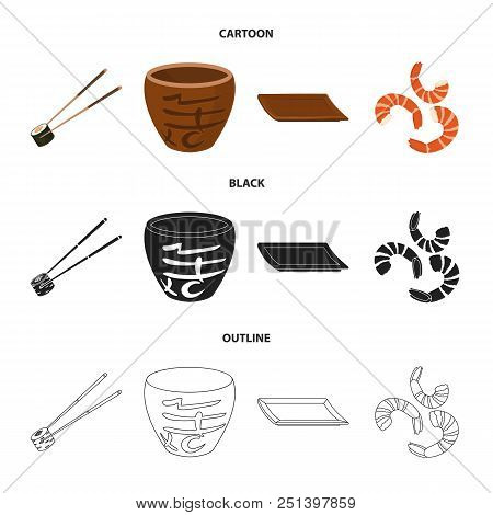 Sticks, Shrimp, Substrate, Bowl.sushi Set Collection Icons In Cartoon, Black, Outline Style Vector S