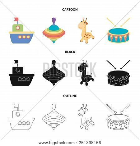 Ship, Yule, Giraffe, Drum.toys Set Collection Icons In Cartoon, Black, Outline Style Vector Symbol S