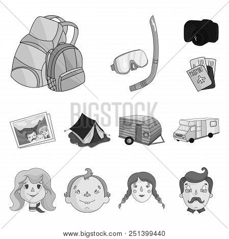 Family Holiday Monochrome Icons In Set Collection For Design. Recreation And Equipment. Vector Symbo