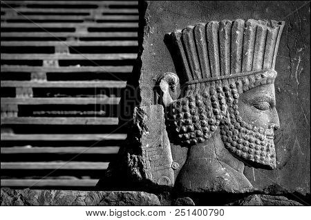 Persepolis Is The Capital Of The Ancient Achaemenid Kingdom. Sight Of Iran. Ancient Persia. Bas-reli