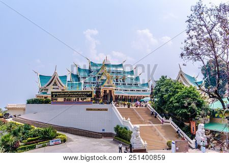 Udonthani, Thailand - March 17, 2018 : Famous Unique Blue Roof Of Buddhism Sacred Halls Of Wat Pha P