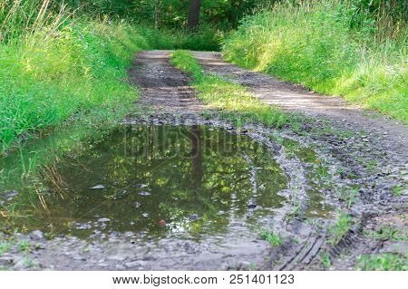 Bad Road And Mud, Off-road, A Bad Dirt Road In The Forest, A Swamp And Pits On The Road