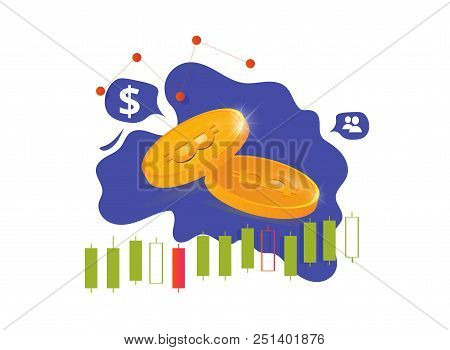 Cryptocurrency Market Vector Illustration: Cryptocurrency Coins, Bitcoin Business Or Crypto Currency
