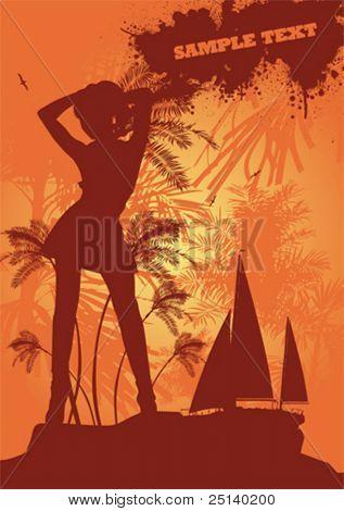Sexy summer girl dancing