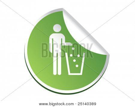 Recycle man sticker symbol