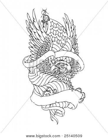 Bald American Eagle Emblem - lineart illustration