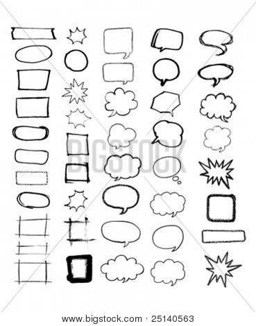 Sketchy design elements set