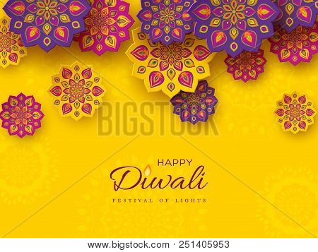 Diwali Festival Holiday Design With Paper Cut Style Of Indian Rangoli. Purple, Violet Color On Yello