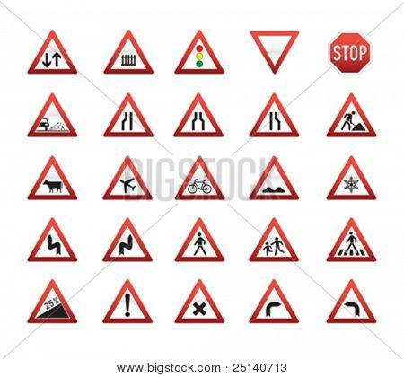 Directional Traffic Signs Set