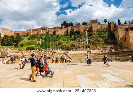 Malaga, Spain, April 03, 2018: The Fortress Alcazaba Withe Ruins Of Roman Theater, Malaga, Spain