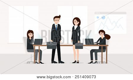 Horizontal Poster With Businessman And Businesswoman Standing Near Worktop In Light Office Vector Il