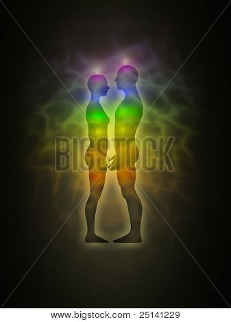Woman and man silhouette with aura, chakras, energy