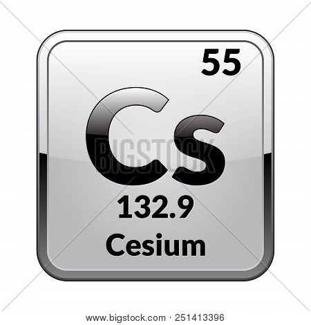 Cesium symbol vector photo free trial bigstock chemical element of the periodic table on a glossy white background in a silver framector illustration urtaz Images
