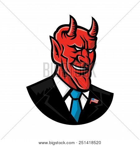 Mascot Icon Illustration Of Bust Of A Demon, Devil Or Satan Grinning, Dressed As An American Busines