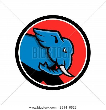 Mascot icon illustration of head of a bull elephant with big tusk about to charge or charging set inside circle viewed from side on isolated background in retro style. poster