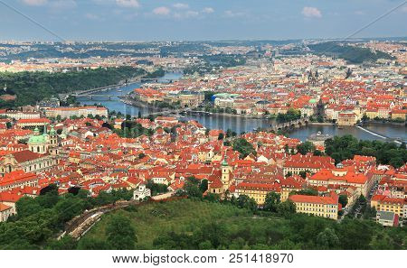 Panoramic Aerial View Of Charle's Bridge And Old Town In Prague, Czech Republic