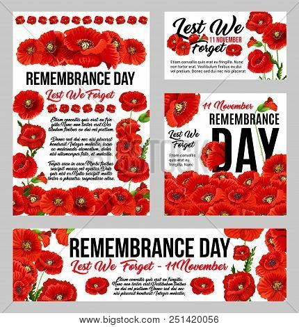 Remembrance Day Poppy Flower Banner Set For World War Soldier And Veteran Memorial Card Template. Re