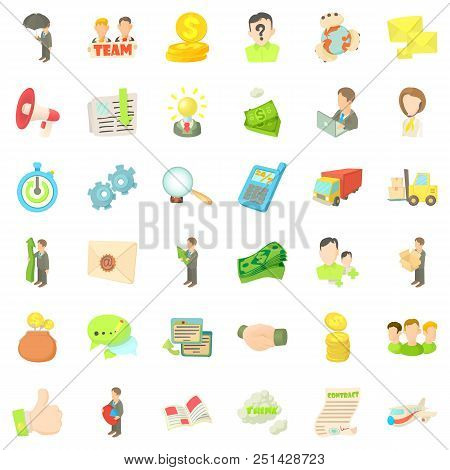 Business Company Icons Set. Cartoon Style Of 36 Business Company Vector Icons For Web Isolated On Wh
