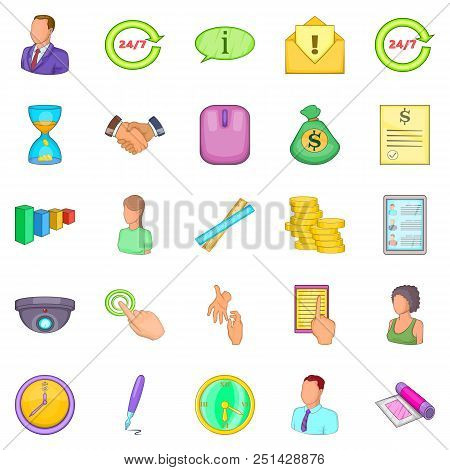 Monetary Influence Icons Set. Cartoon Set Of 25 Monetary Influence Vector Icons For Web Isolated On