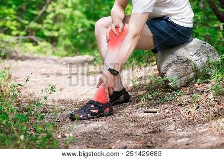Pain in knee, joint inflammation, massage of male leg, injury while running, trauma during workout, outdoors concept poster