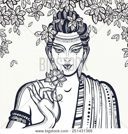 Beautiful Graphic Buddha Face Over The Bodhi Tree. Hand-drawn High-quality Vector Composition. Spiri