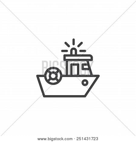 Coast Guard Outline Icon. Linear Style Sign For Mobile Concept And Web Design. Coast Security Ship S