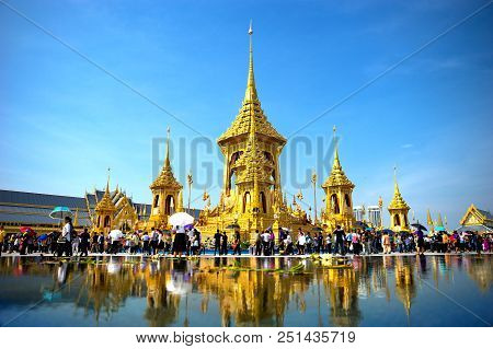 November 25, 2017: Bangkok, Thailand - An Exhibition On Royal Crementaion Ceremony At Sanam-luang Cr