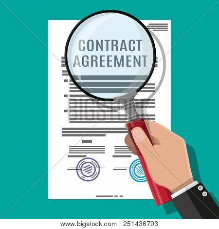 Hand Of Lawyer With Magnifying Glass Checks Contract Papaer. Research Documents, Research Documents.