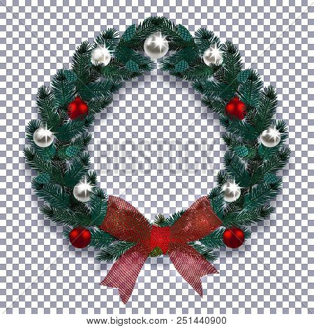 Christmas, New Year. Blue Branch Of Spruce In The Form Of A Christmas Wreath With Shadow. Red Bow, S