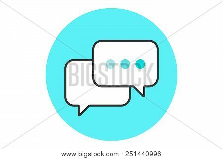 Icon Of Dialog Messages. Two White Bubbles Messages With Text. Icon Of Business Dialog Isolated On B