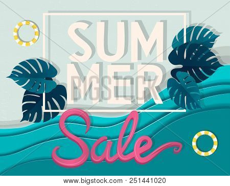 Summer Sale Banner, Signboard, Decor For The Store. Top View Of Beach And Sea, Background, Vector. G