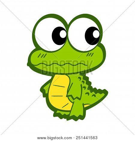 Cute Cartoon Crocodile. Funny Crocodile Cartoon Posing. Cartoon Crocodile Isolated On White Backgrou