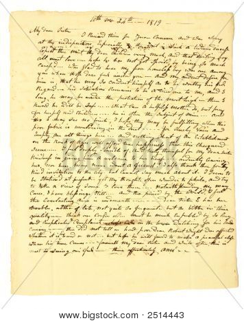 Very Old Handwritten Letter Of 1819.
