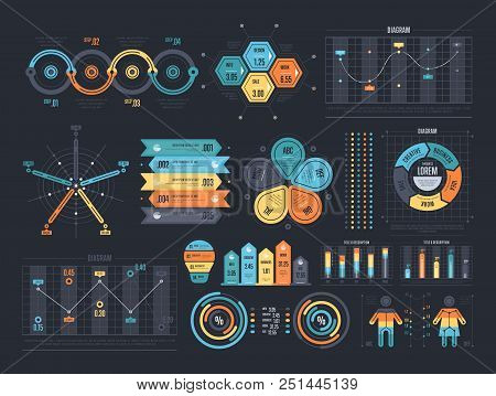 Financial And Marketing Statistic Graphic With Charts And Diagrams. Business Data Graphs. Illustrati