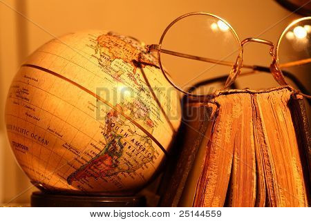 Old Globe With Book
