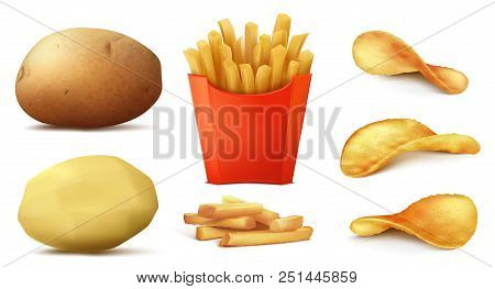Vector 3d Realistic Set Of Potato Snacks, Tasty French Fries In Red Box, Raw Vegetable And Peeled, C