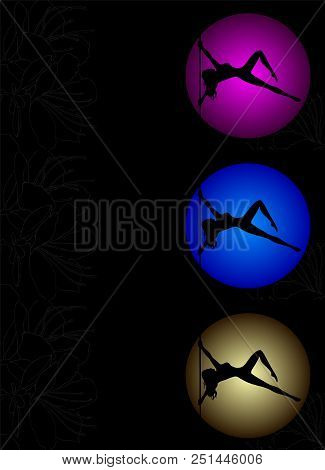 Three Flyers With Vector Silhouette Of Girl And Pole On A Magenta, Blue, Yellow Circle. Pole Dance I