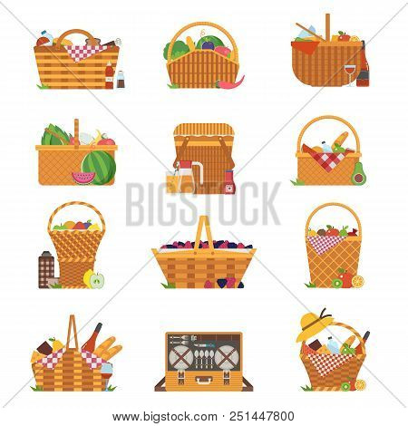 Wicker And Willow Picnic Baskets Isolated On White. Various Weaving Hampers In Flat Design. Straw Pi