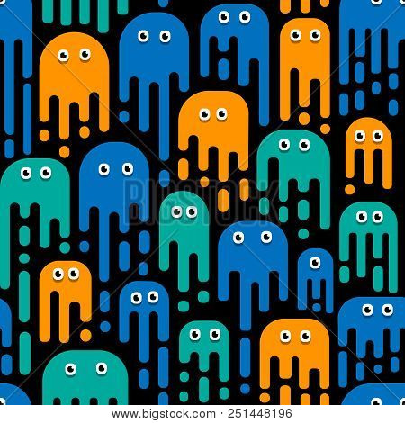 Monsters Pattern, A Pattern Of Mutant Patterns, Bacteria, Viruses. Cartoon Style For Children's Patt