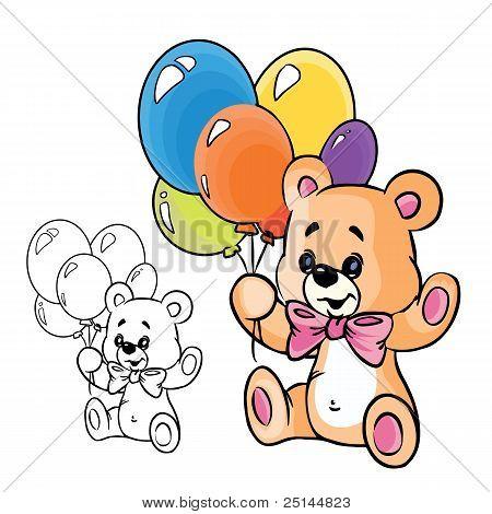 Oso de peluche con globos