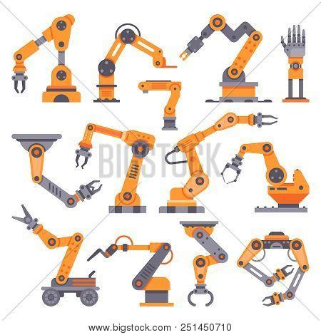 Flat Manufacture Robotic Arm. Automatic Robot Arms, Production Machine Auto Factory Conveyor Industr