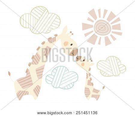 Giraffe Mom And Baby Cute Print. Sweet Animal Family. Mother And Child Fashion Child Vector. Cool Sc
