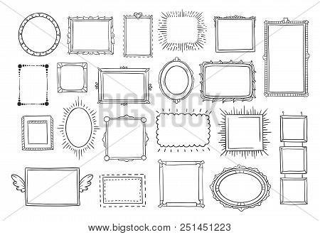 Hand Drawn Frames. Vintage Doodle Sketch Picture Frame Doodle Labels. Blank Black Square Cadre Recta