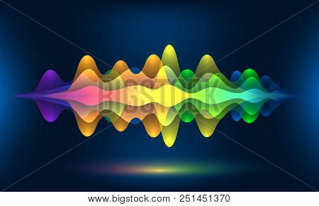 Colorful Voice Waves Or Motion Sound Frequency Rhythm Radio Dj Amplitude. Abstract Soundtrack Wave E