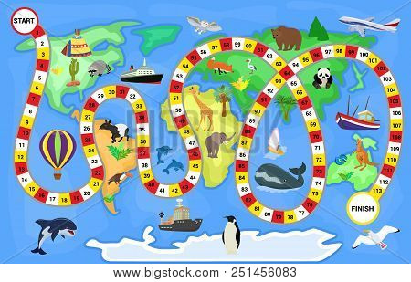 Board Game Vector Gaming Map Boardgame With Ocean Or Continents And Snake Gameboard Illustration Set