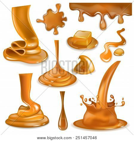 Caramel Splash Vector Sweet Flowing Liquid Sauce Or Pouring Chocolate Cream Illustration Set Of Cara