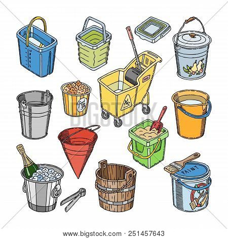 Bucket Vector Bucketful Or Wooden Pailful And Kids Plastic Pail For Playing Empty Illustration Bucke